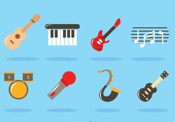 Flat Music Instrument Vectors - бесплатный vector #155665