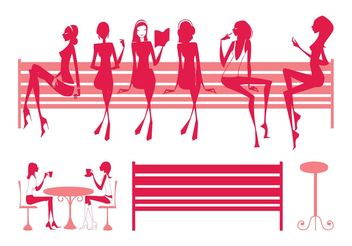 Sitting Girls Silhouettes - vector gratuit #155695
