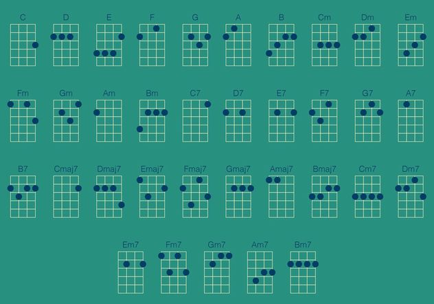 Ukulele Chords Vector Set Free Vector Download 156165 Cannypic