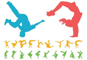 Breakdancers Silhouettes Set - Free vector #156365