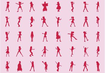 Girls Silhouette Set - vector gratuit #156415