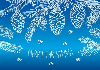 Hand Drawn Merry Christmas Pines - vector gratuit #156575