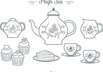 Free Hand Drawn High Tea Vectors - vector gratuit #156625