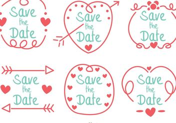 Hand Drawn Save The Date Vector Pack - vector gratuit #156645