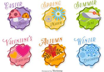 Hand Drawn Seasonal Vector Badges - vector gratuit #156745