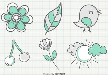 Sketchy Summer Garden Illustrations - vector gratuit #156795