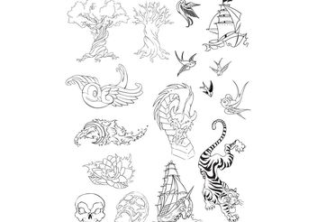 Tattoo Vector Set - Free vector #156935