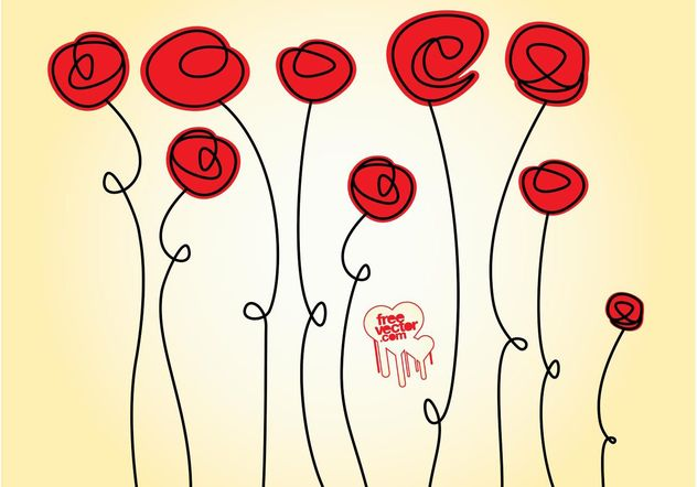 Doodles rose - vector gratuit #157325