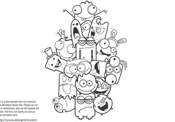 Cute Vector Monsters Free Sample - vector #157335 gratis