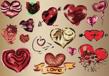 Hearts Vector Art Drawings - Free vector #157395