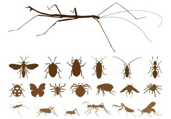 Insect Silhouettes Set - vector gratuit #157595