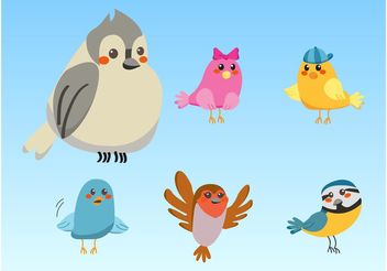Cute Birds - vector gratuit #157635