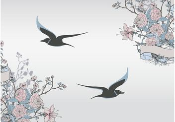 Birds And Flowers - vector gratuit #157695