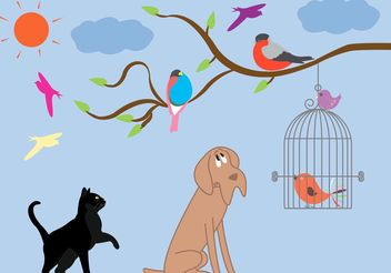 Vintage Bird Cage and Animal Vectors - vector gratuit #157785