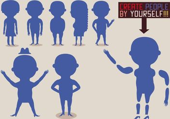 Set of Flat People Vector Silhouettes - Free vector #157825