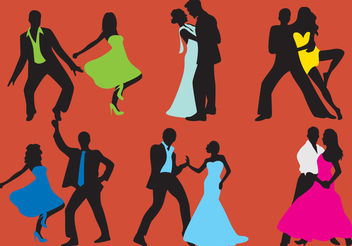 Woman And Man Dancer Silhouettes - Free vector #157885