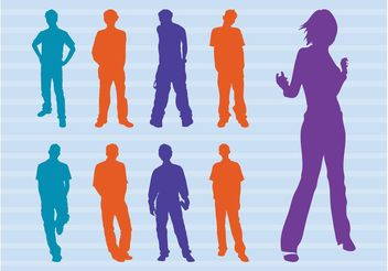 Colorful People Silhouettes Vector - vector gratuit #157915