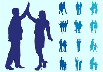 People In Couples Silhouettes Graphics - Free vector #157965