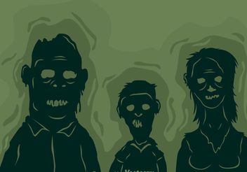 Vector Zombie Family Silhouette - Free vector #158015