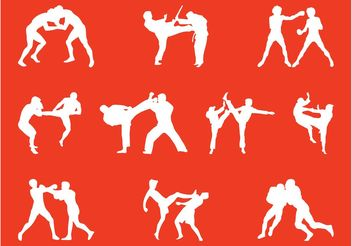 Wrestling People Silhouettes - Free vector #158025