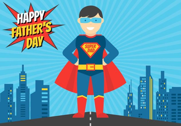 Free Superhero Dad Vector Illustration - vector gratuit #158145