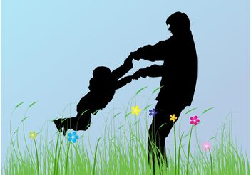 Father And Child - vector gratuit #158175