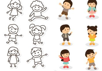 Children Illustration Vectors Pack - vector gratuit #158185