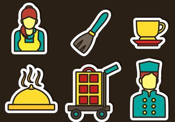 Hotel Service Sticker Icons Vector - Free vector #158325