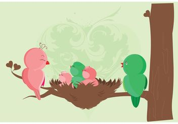Baby Birds Birth Card - Free vector #158355