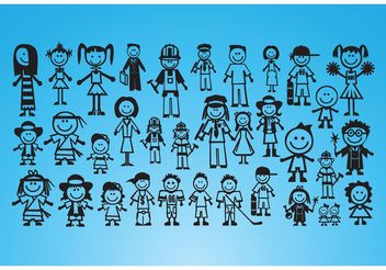 People Drawings - vector gratuit #158525