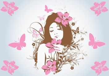 Flower Girl Vector - Free vector #158565