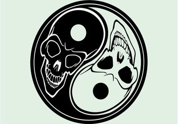 Yin Yang With Skulls - vector gratuit #158665