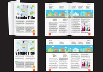 City Demographic Magazine Layout Vetor - vector gratuit #158725