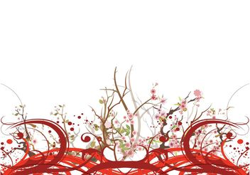 Cherry Blossom Layout - vector gratuit #159405