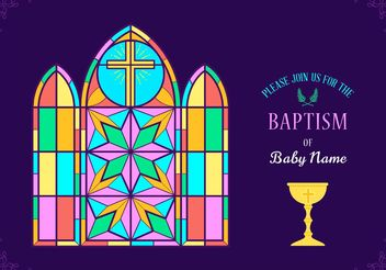 Free Colorful Baptism Invitation Vector - vector gratuit #159425