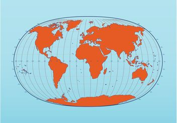 World Map with Latitude and Longitude - vector gratuit #159635