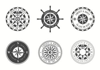 Free Vector Nautical Chart Badges - vector gratuit #159665