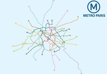 Metro Paris Map Vector - vector #159685 gratis