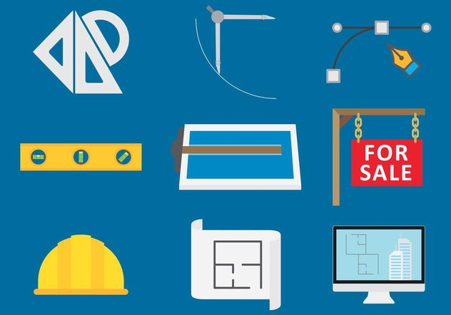 Architecture tools vector icons free vector download for Architecture design tools free
