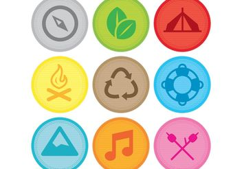 Camping Vector Award Patches - Free vector #159755