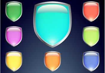 Colorful Shield Vectors - vector gratuit #160075