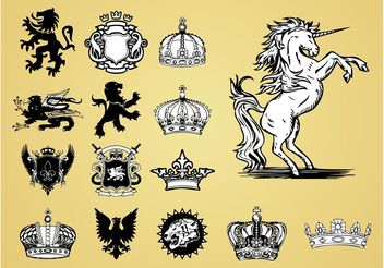 Antique Heraldry Vectors - Free vector #160165
