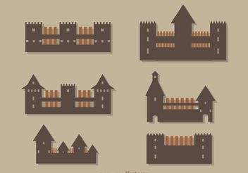 Simple Castle Icons Vector - vector #160345 gratis