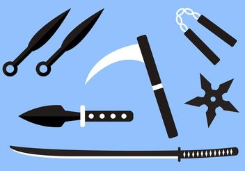 Ninja Weapon Vectors - Free vector #160355