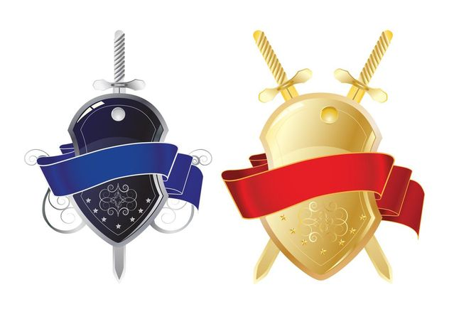 Shiny Shields And Swords - vector gratuit #160545