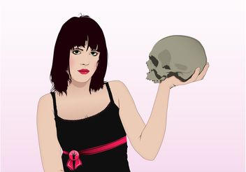 Girl With Skull - vector gratuit #160755