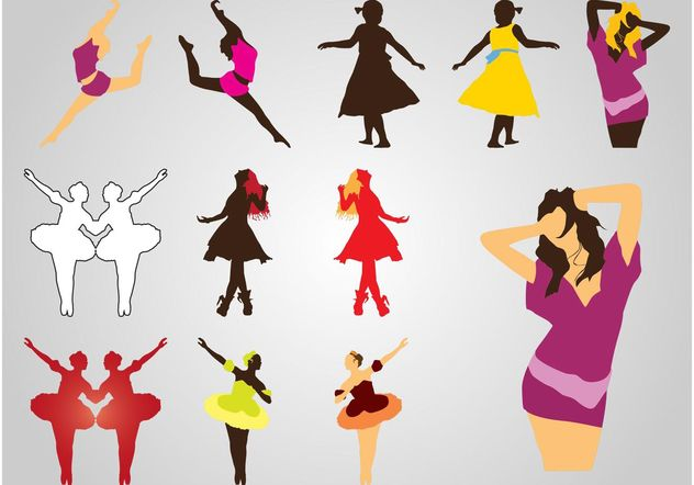 Dancing Girls Silhouettes - vector gratuit #160845