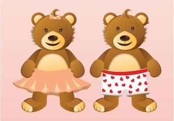 Teddy Bears Couple - бесплатный vector #161005