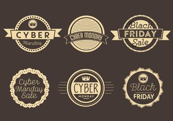 Cyber Monday and Black Friday Labels - vector gratuit #161085