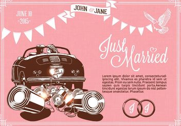Free Retro Just Married On Car Vector - бесплатный vector #161265